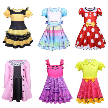 Lol cosplay Girls Fancy Dress queen bee Costume long Sleeve Clothes Kids Party Cosplay Princess Child