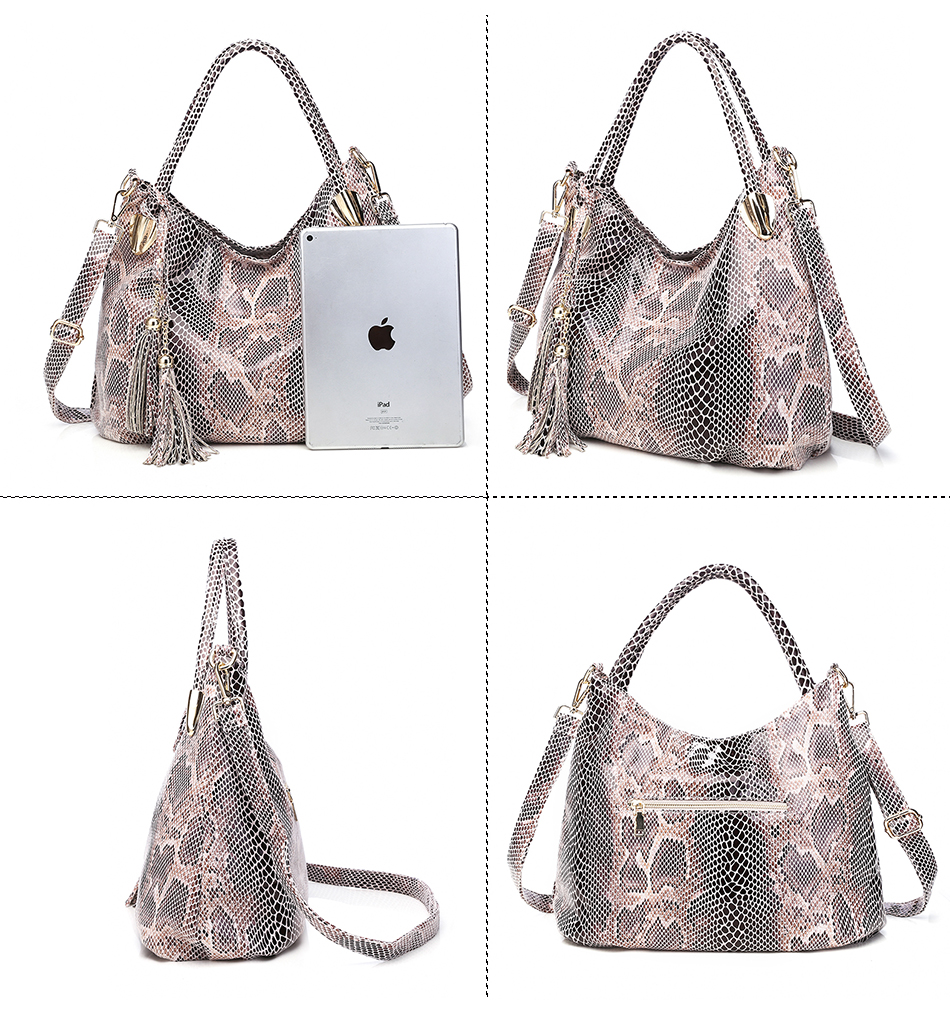 bolsa de alta qualidade serpentina crossbody sacos com borla senhora