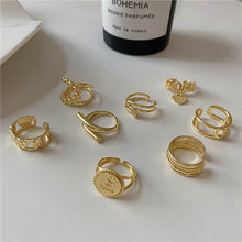 Fashion Copper Luxury Design Exquisite Trendy Rings for Women Girls Different Shape Gold Color Geometry Ring Party Punk Jewelry