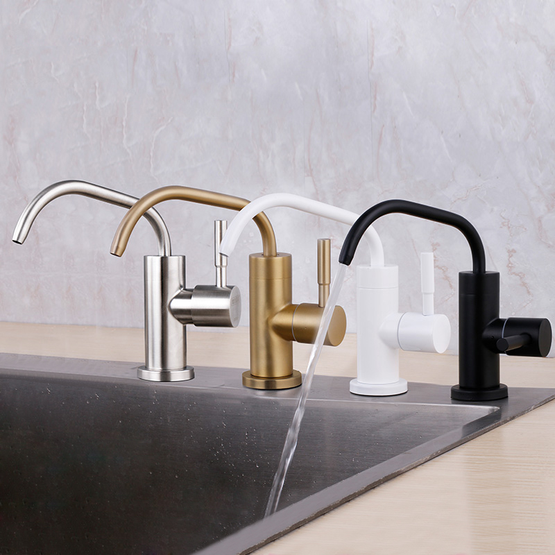 Kitchen Water Filter Faucet Stainless Steel 1/4'' 1/2 ''Connect Hose Reverse Osmosis Filters Parts Purifier Direct Drinking Tap