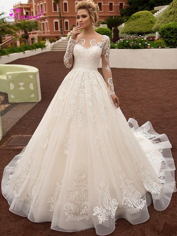Fsuzwel Elegant Scoop Neck Button A-Line Wedding Dresses 2020 Luxury Long Sleeve Appliques Vintage Bridal Gown Vestido de Noiva