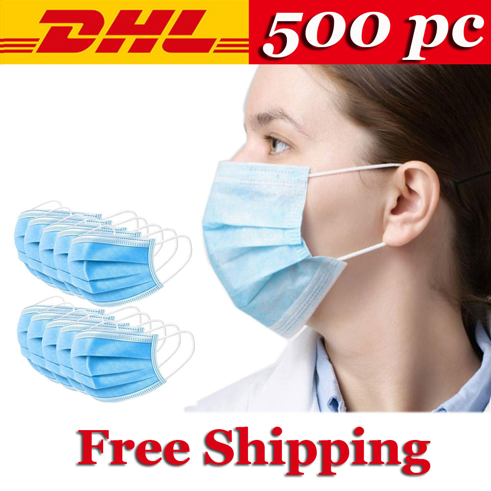 Fast Shipping Disposable Face Mask 500/300/400/200/100 Pcs 3-Ply Non-woven Face Mouth Masks Filter Anti Dust Mask Kids Adult