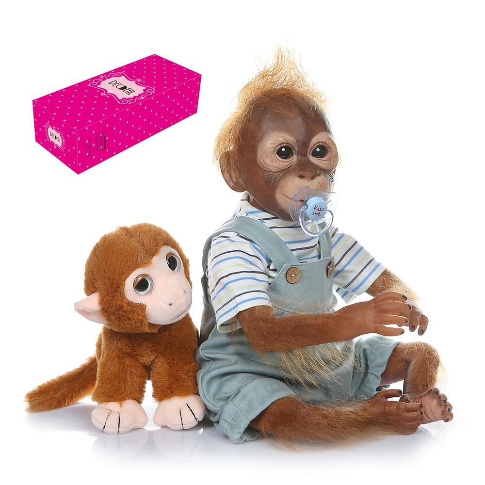 Decdeal kawaii bebê macaco boneca realista renascer bebê macaco 21 polegada 52cm artesanal detalhada pintura arte bonecas para crianças infantil
