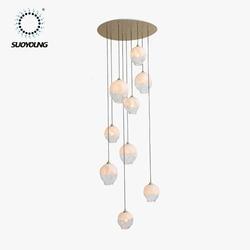 Szklana lampa sufitowa energooszczędne światło źródło dekoracyjna oprawa sufitowa nowoczesny Design sufit pokoju dziennego zamontowany na światło