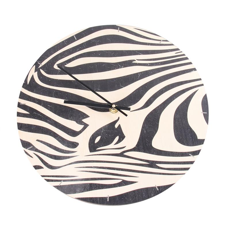 1PC Wall Clock Decorative Modern Zebra Pattern Nordic Acrylic Wall Clock Wooden Clock For Bedroom Living Room Kitchen Office