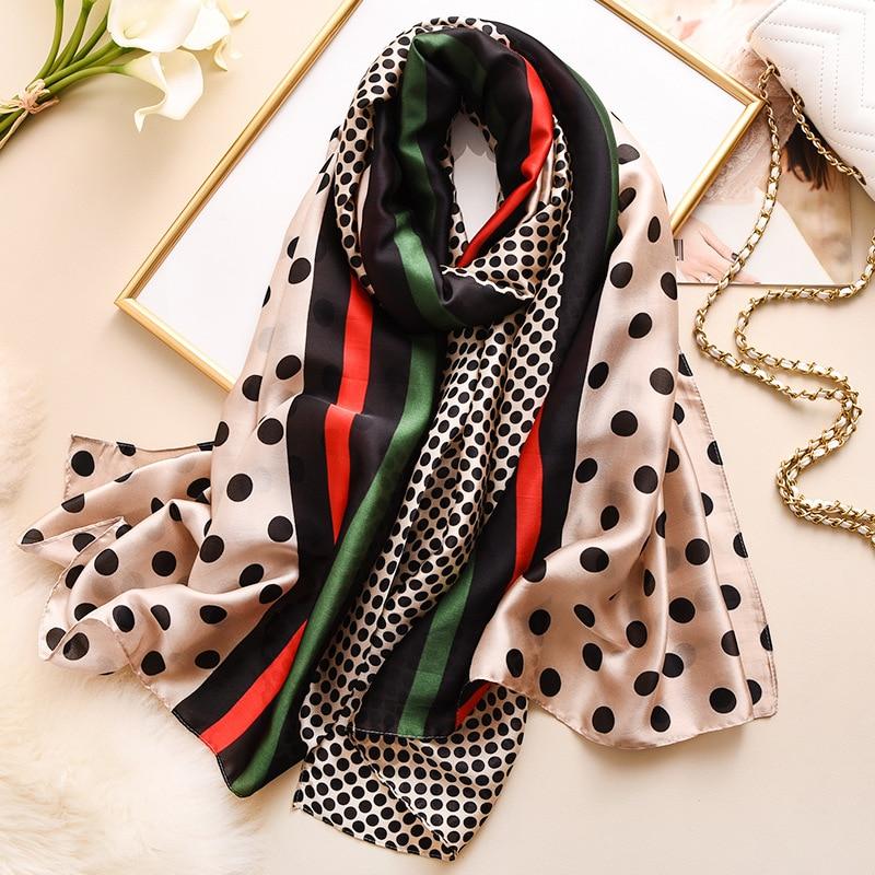 2020 New Silk Scarf Women Fashion Dot Print Shawls And Wraps Lady Travel Pashmina High Quality Striped Scarves Winter Neck Wram