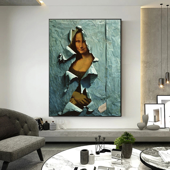 The Famous Mona Lisa Spoof Painting Printed on Canvas 5