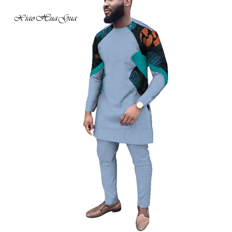 Dashiki Bazin Causal Party Mens African Clothing Dashiki Long Sleeve Shirt And Pants Set Print Trousers Patchwork Cotton WYN709