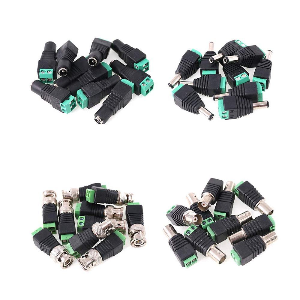 DC Power Connector Male & Female And BNC Male & Female Video Balun Connector Kit For CCTV Security Camera LED Strips Terminal