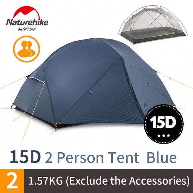 NatureHike Mongar קמפינג אוהל 2 אנשים Ultralight 20D ניילון אלומיניום סגסוגת מוט שכבה כפולה אוהל טיולים חיצוני NH17T007 M