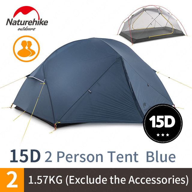 NatureHike Mongar Camping Tent 2 Persons Ultralight 20D Nylon Aluminum Alloy Pole Double Layer Outdoor Hiking Tent NH17T007 M