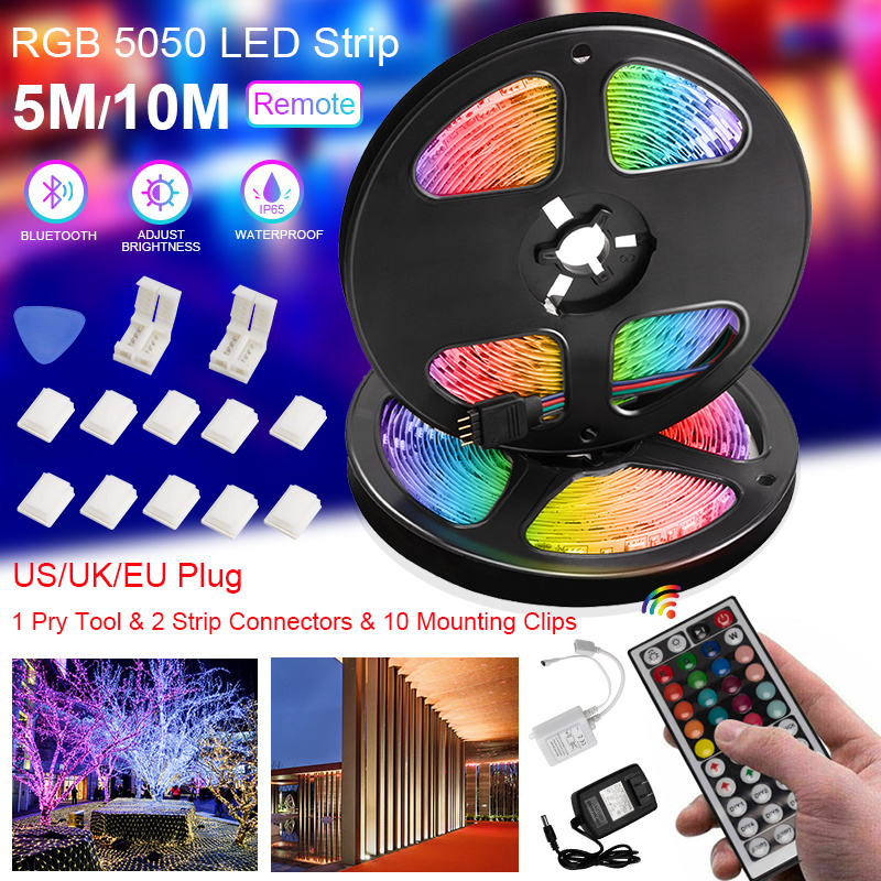 2020 New 5M/10M RGB LED Strip Light 5050 SMD Tape DC 12V Waterproof RGB LED Lamp with Remote Control US/UK/EU Plug image