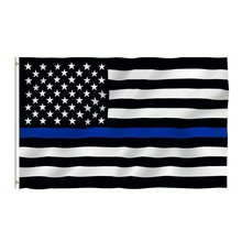90x150 Blue Strip Flag American Black Thin Stripe