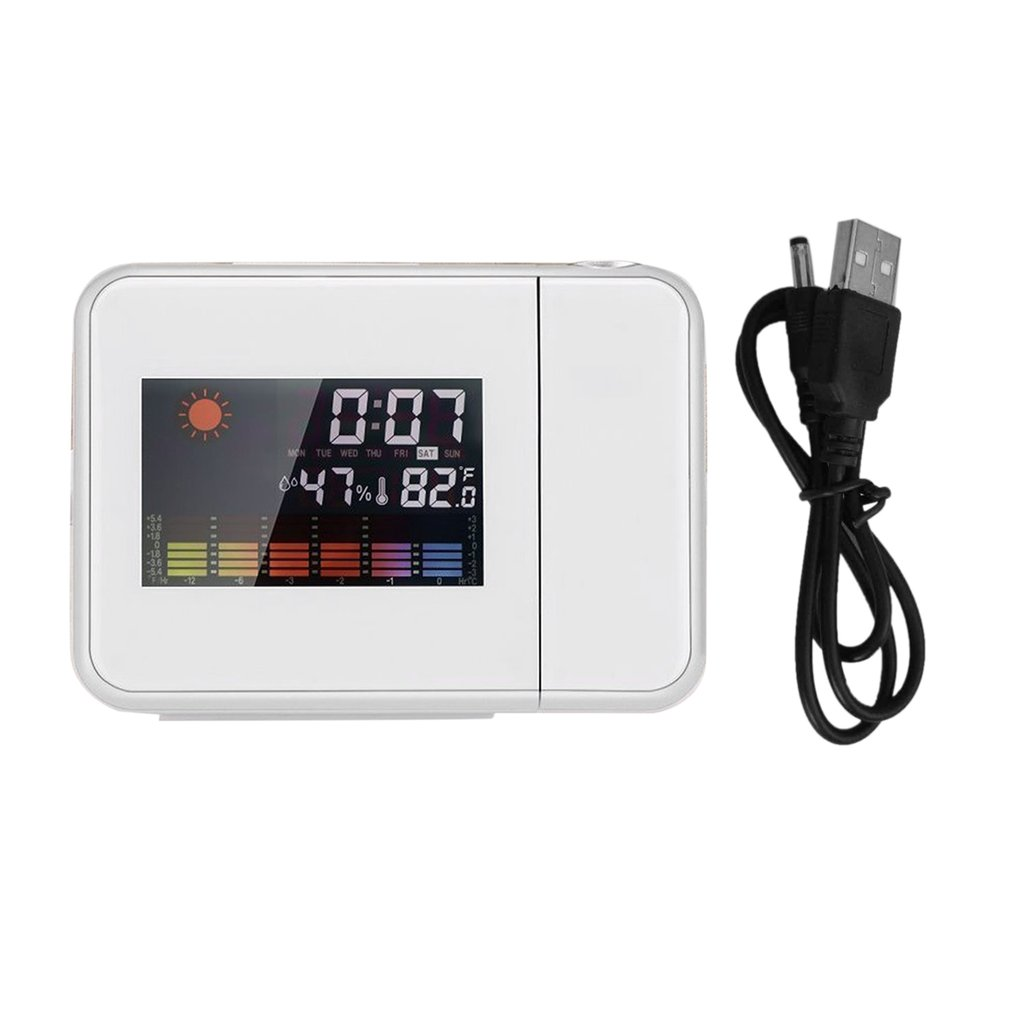Portable Projection Digital Weather LCD Snooze Alarm Clock Color Display With LED Backlight Temperature Humidity Tester