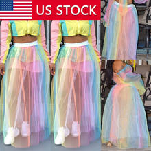 New Fashion Women Mesh Rainbow Dress Skirt Colorful Mesh Sheer High Waist Maxi Dress Long Skirt Beach Dress Summer Hot(China)