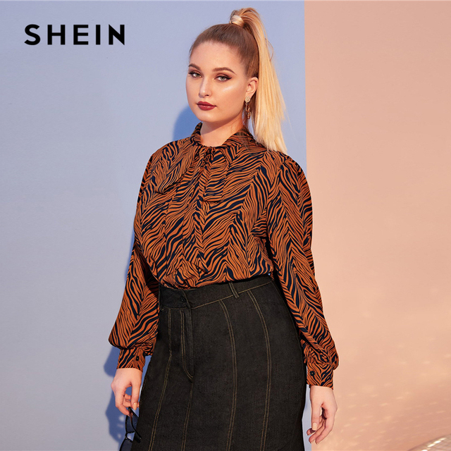 SHEIN Plus Size Multicolor Tiger Skin Print Tie Neck Blouse Top Women Autumn Bishop Sleeve Elegant Office Lady Plus Blouses 1