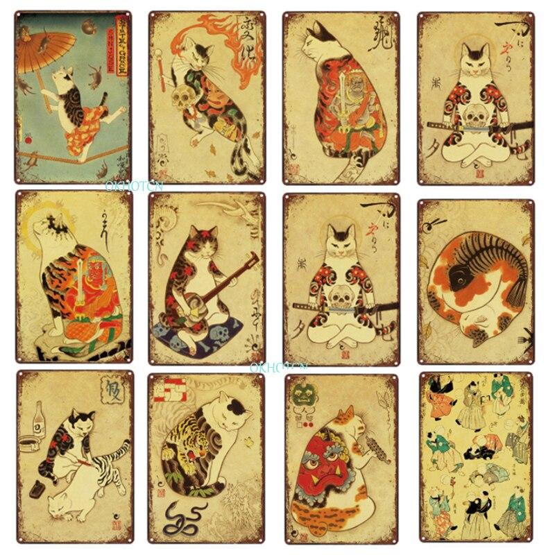 Металлический жестяной знак кошки в японском стиле, милая пластина с мультяшными животными, винтажный Железный постер, таблички, настенное ...