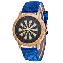 Dart Board Retro Pattern Luxury Fashion Denim Strap Cheap Wristband Women Quartz