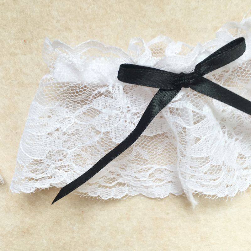 Womens Cosplay Maid 3 Pieces Leg Ring Wrist Band Set White Floral Lace Black Bowknot Wedding Bridal Elastic Thigh Garter Belt