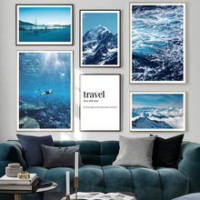 Diving Sea Wave Mountain Travel Quotes Wall Art Canvas Painting Nordic Posters And Prints Pictures For Living Room Decor