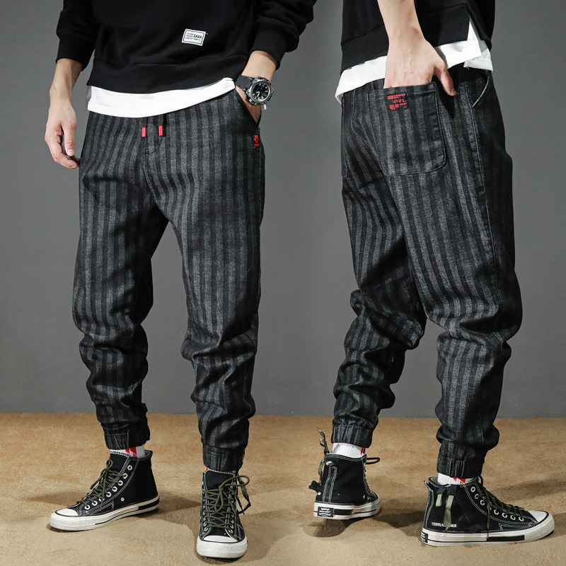 Fashion Streetwear Men Jeans Loose Fit Black Stripe Designer Harem Trousers Cargo Pants High Quality Hip Hop Joggers Pants Men