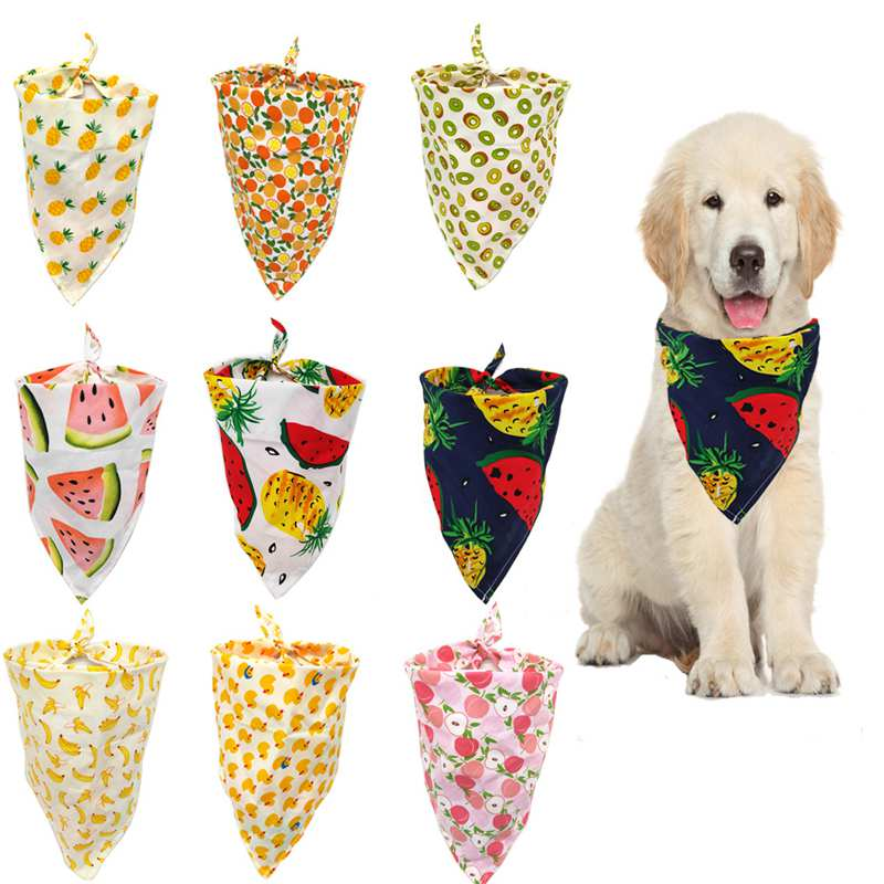 Dog Bandana Scarf Cat Bibs  Fruit Print Pineapple Banana Pear Pattern Cotton Plaid Washable Dog Bandana  Dog Accessories