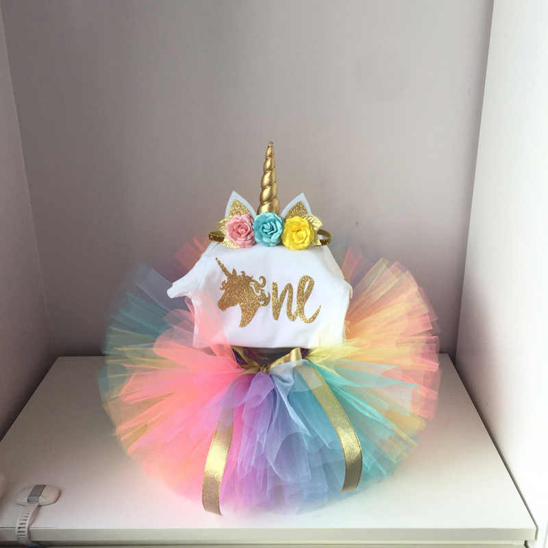 Incredible Brand Unicorn Dress Baby Girl 1 Year First Birthday Tutu Baby Girl Funny Birthday Cards Online Sheoxdamsfinfo