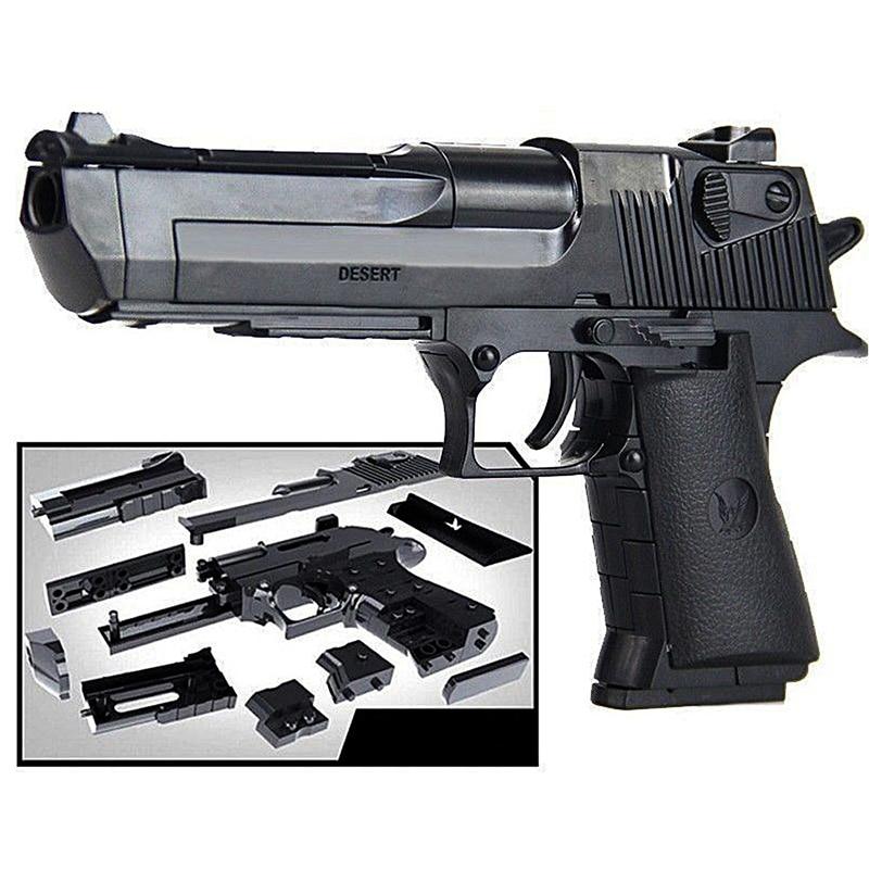 Puzzle Building Block Pistol Diy Assembling Gun Model Children Simulation Toy Cross-Border Military Pistol Model Assembly Gift