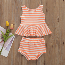 0-24M Summer Lovely Infant Baby Girls Clothes Sets Striped Print Sleeveless Vest Tops+Shorts 2pcs Outfits Casual Baby Clothing