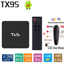 Tanix TX9s TV Box Amlogic S912 Quad Core Android 9.0 2GB 8GB 2.4G WiFi 4K Netflix youTube Asisten Media Player Aplikasi Gratis(China)