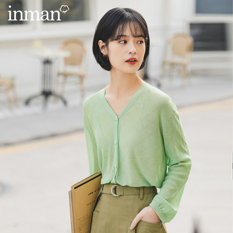 INMAN 2020 Summer New Arriavl Lady All-match V-neck Pure Color Long Sleeve Knitwear