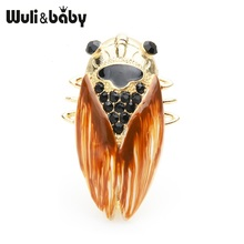 Wuli&baby Big Brown Cicada Insect Brooches Women Men Alloy Enamel Casual Party Brooch Pins Gifts