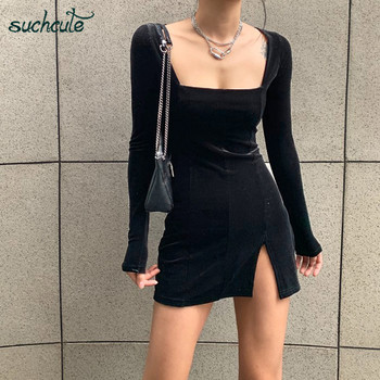 SUCHCUTE velvet women dress bodycon Modis soild Autumn Winter 2020 elegent split Femme Dresses party long sleeve gothic clothes 1