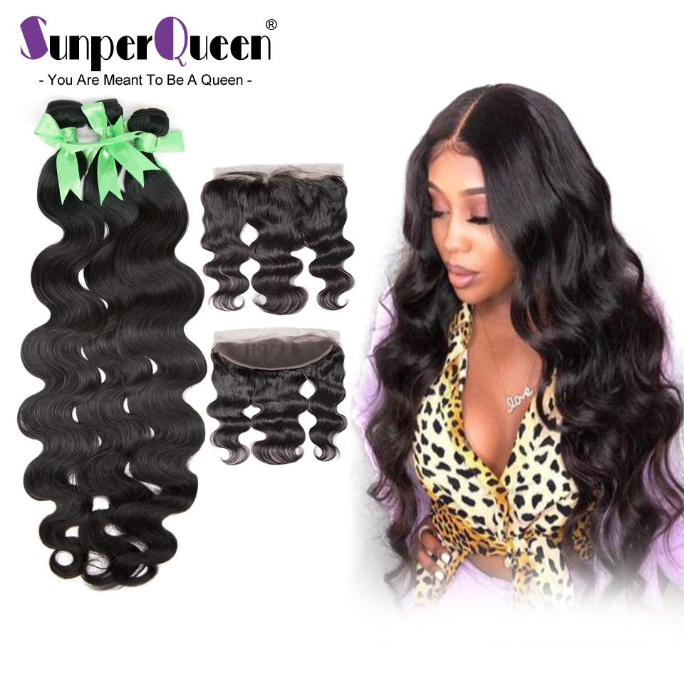 {Sunper Queen}Body Wave 8-30inch M Brazilian Human Remy Hair Natural Color 3 Bundles With 13*4 Frontal