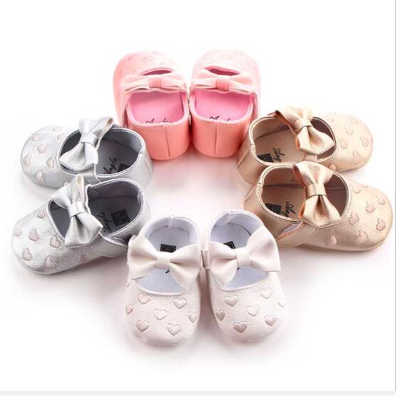 Lovely Heart Baby Shoes Infants PU Leather First Walkers Soft Sole Newborn Girls Crib Shoes