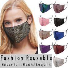 Mascarilla de algodón con lentejuelas para mujer, protector facial lavable y transpirable para la cara del Festival