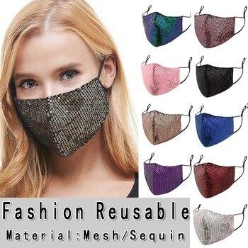 Women Sequins Cotton Mask mascarilla con brillantes Bar Party Fashion Face Cover Washable Breathable Mask Festival Face Shield