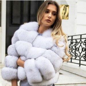 Image 3 - ผู้หญิงธรรมชาติจริงFoxขนสัตว์Winter Outwear 50ซม.ยาวWholeskinของแท้Fox Fur Jacketผู้หญิงเสื้อขนสัตว์เสื้อคลุมสั้น