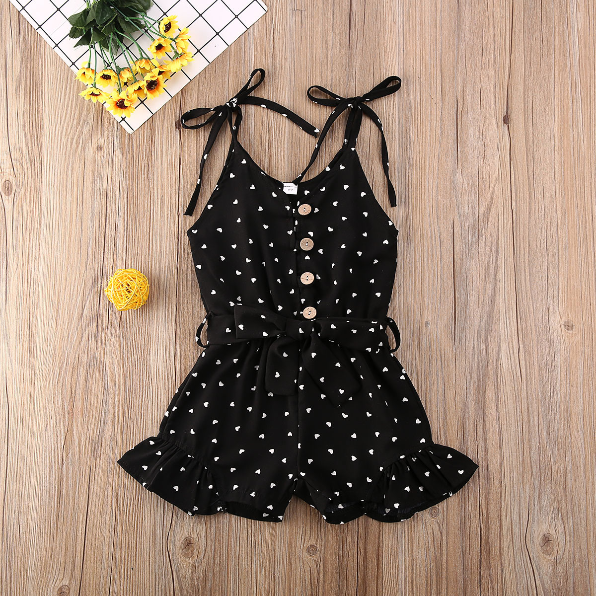 Pudcoco Toddler Baby Girl Clothes Love Peach Heart Print Strap Romper Jumpsuit One-Piece Outfit Cotton Clothes