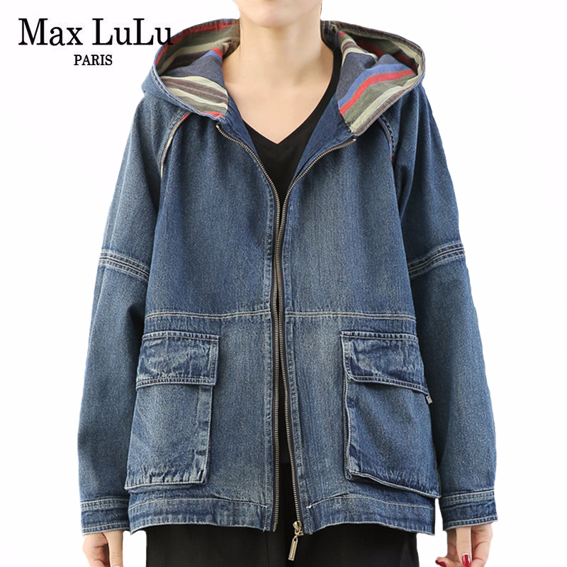 Max LuLu 2020 Spring Korean Fashion Ladies Vintage Coats Womens Casual Loose Denim Jackets Female Streetwear Clothes Plus Size