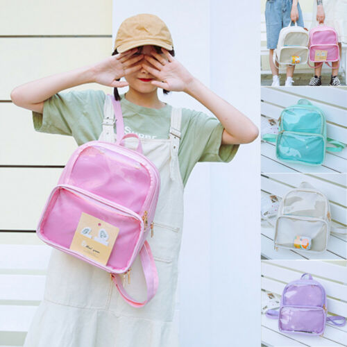 Girl Fashion Cute Clear Transparent PVC Multi-pockets School See Through Backpack Travel Backpack