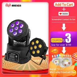 Движущийся светодиодный сценический светильник 7x18 Вт RGBWA + UV 6в1 Профессиональный DMX512 для дискотеки DJ музыка вечерние KTV освещение для ночног...