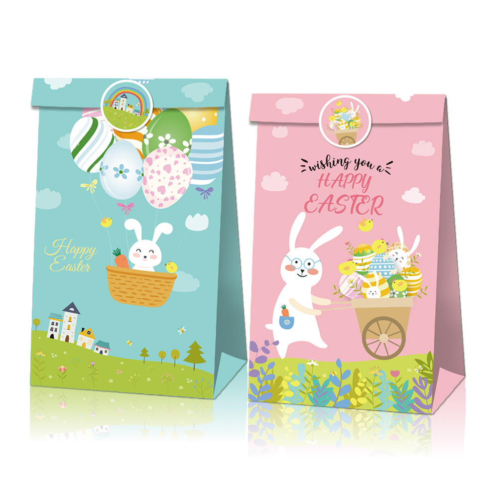 4PCS Easter Gift Bags With Stickers Rabbit Happy Easter Candy Cookies Packaging Supplies DIY Kraft Paper Boxes Party Decoration