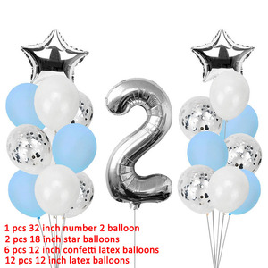 Image 3 - 21pcs Number 2 Foil Balloons Happy Birthday Party Decorations Girl Boy 2nd Balloons 2 Years Old Second Birthday Supplies