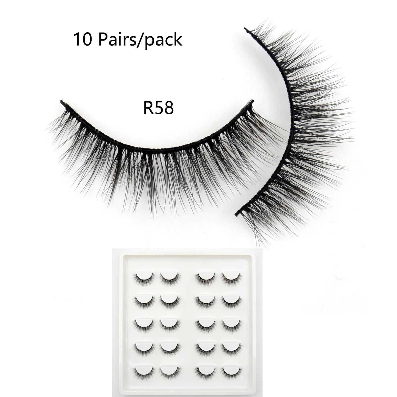 10 Pairs Faux Mink Lashes Bulk Natural Lashes Dramatic Lashes 3D False Eyelashes Handmade Full Strip Lashes R58 Makeup Eyelashes