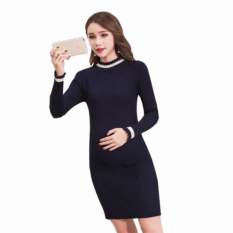 Autumn Fashion Maternity Sweaters Dress Slim Sheath Knitted Clothes for Pregnant Women  Pregnancy Sweaters
