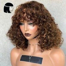 Perucas completas feitas à máquina destacam mel #27 #30 loira marrom borgonha 99j perucas de cabelo humano para mulheres jerry perucas encaracoladas com franja