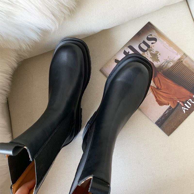 COOTELILI Leather Women Boots Brand Fall Winter Warm Short Ankle Boots Platform Flats Shoes Waterproof Water Shoes Non-Slip