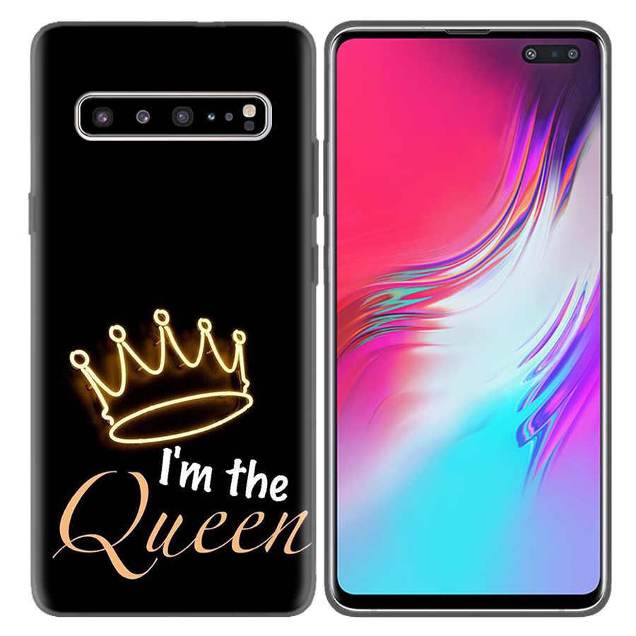 Anne Kraliçe Prenses Taç TPU Telefon samsung kılıfı Galaxy A7 A8 A9 A6 J4 J6 Artı 2018 Not 8 9 10 s7 Kenar Kabuk Coque Kapakları