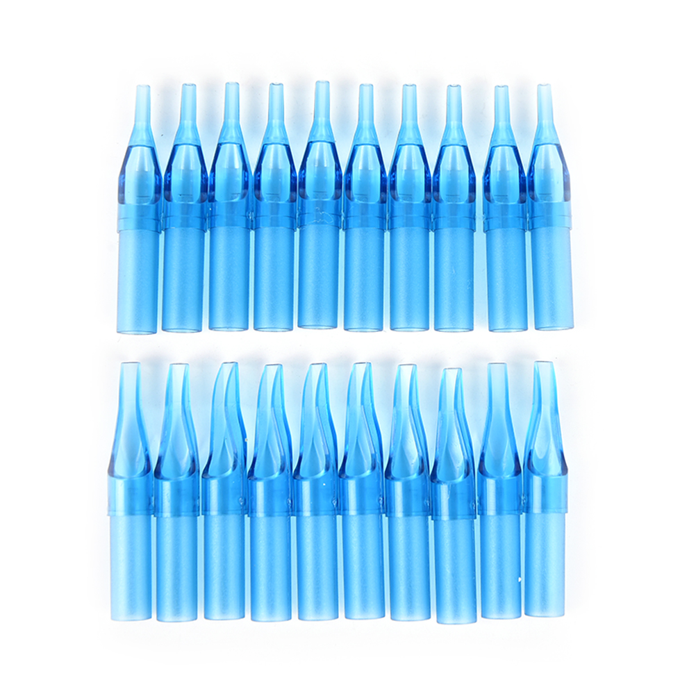 10pcs 3/5/7/9R Blue Mixed Sterile Disposable Tattoo Machine Gun Nozzle Tips Needle Tube For Tattoo Gun Needle Ink Cup Grip Kits